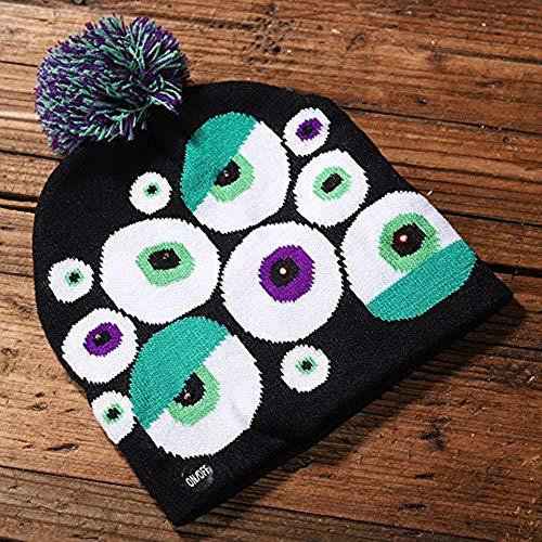 bloatboy Shiny Knit Hat - Halloween Kinder Adult Hat Party Kürbis Ghost Mit Light Cap Hat Kopfbedeckung - Dienstmädchen Für Sie Adult Kostüm