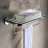 CWJ Toallero de baño Baño de Acero Inoxidable Juego de Colgantes Estante de Toalla Estantes Dobles Hardware Rack Set Sin Punzones