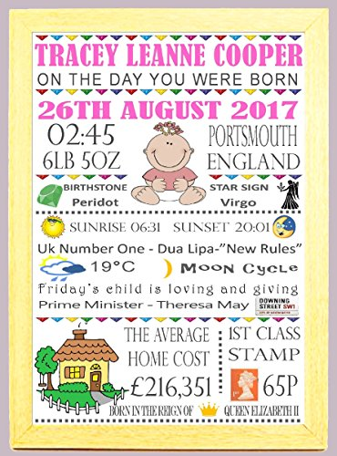 "Personalised Word Art A4 Light Wood Framed""On The Day You Were Born"" Girls Nursery New Born Baby Christening Birthday Memories Print Gift Keepsake"