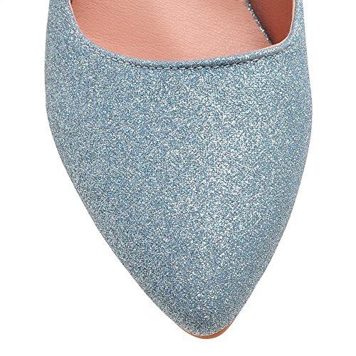 VogueZone009 Femme Tire Pointu à Talon Haut Tissu à Paillette Couleur Unie Chaussures Légeres Bleu