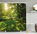 ajnxcid Green Shower Curtain, Summer Park in Hamburg Germany Trees Sunlight Forest Nature Theme Scenic Outdoors Picture, Fabric Bathroom Decor Set with Hooks, 84 inches Extra Long, Green