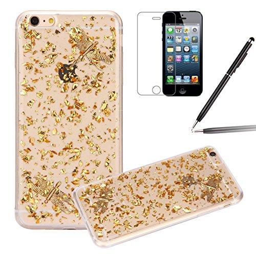 iPhone 6 Plus Hülle,iPhone 6s Plus Case,iPhone 6 Plus Bling Case - Felfy Ultradünne Transparent Gel TPU Silikon Diamond Skin Bling Glitte Kristall Schutzfolie Glitzer Silber Silikon Crystal Case Durch Golden Case Libelle