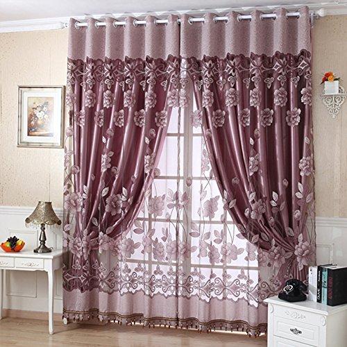 Qhgstore finestra mantovane edal romantico floreale moderna peony tulle soggiorno tendaggi marrone