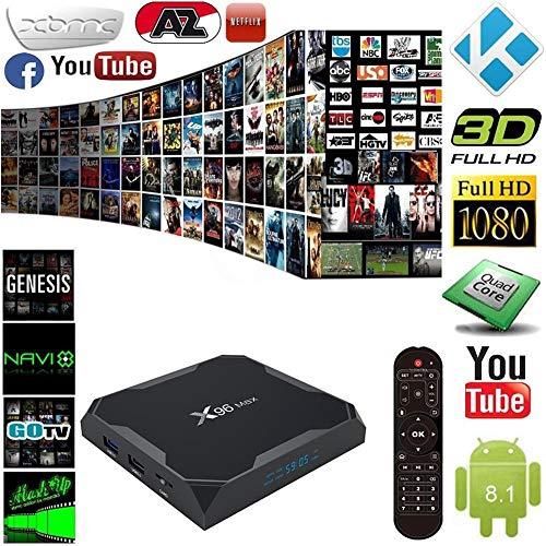 SAWEY Android 8 1 TV Box X96 Max TV-Gerät Top-Box S905W Netzwerk-Player 4G  RAM 64G ROM Android 8 1 HD 4k Player Für Heimkino Spiele Spielen (1000