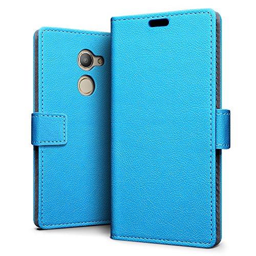 SLEO Vodafone Smart N8 Hülle – Premium Luxuriös PU lederhülle [Vollständigen Schutz] [Kreditkartenfach] Flip Brieftasche Schutzhülle im Bookstyle für Vodafone Smart N8 - Blau