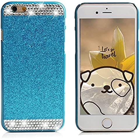 Samsung Galaxy S6PRS, elecfan Smart B hacen cuentas brillantes–Corona de cristal de diamante diseño de funken Pierna lanzamiento Handgemachte Dura Plástico Cobertor Funda/Case para Samsung Galaxy S6 azul