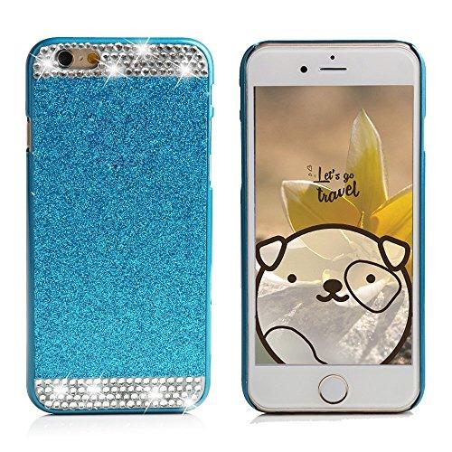 Apple iPhone 6/6S Plus Schutzhülle, elecfan® Smart B machen cristallo corona strass e perla stile diamante scintille gamba lancio handgemachte duro plastica copertura per i Kast Cover/Case per Apple iPhone 6/6S Plus Blau - Stile Cristallo Perla