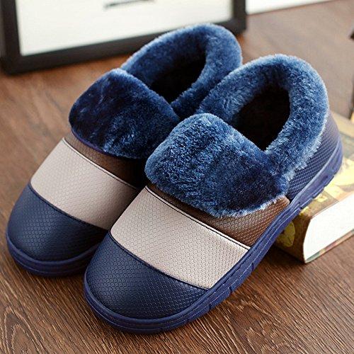 DogHaccd pantofole,Coppie scarpe di cotone uomini e donne inverno soggiorno impermeabile di spessore, antiscivolo pacchetto termale con morbida pelle pu pantofole inverno Blu scuro4
