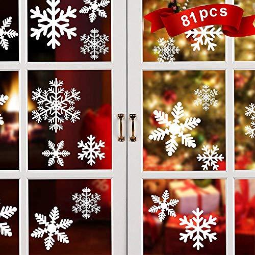 Gabriel 81pcs Schneeflocken deko Aufkleber, weihnachtsdeko fensterbilder, Winter-deko fensterbilder Weihnachten - wiederverwendbar Statisch Haftende PVC Aufklebe (81pcs)