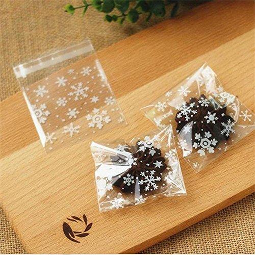 Uniqstore 100pcs Weihnachten Schneeflocke Cellophan Klein Cookie Tütchen für Party Cookies Nette Süße Süßigkeiten Style 05