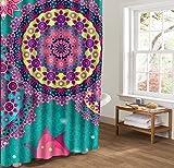 JIACURTAIN Duschvorhänge Abstrakte Kunst Mandala Blumen Schmetterling für Badezimmer Dusche Vorhang 36