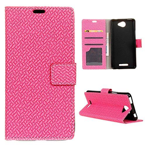 BQ Aquaris U Lite Hülle, CaseFirst Hülle in Gewebte Muster Flip Cover Brieftasche Wallet Case mit Foto Frame und Card Slots PU Leder Schutzhülle für BQ Aquaris U Lite (Pink)