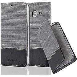 Cadorabo Coque pour Samsung Galaxy J3 2016 en Gris Noir - Housse Protection avec Fermoire Magnétique, Stand Horizontal et Fente Carte - Portefeuille Etui Poche Folio Case Cover