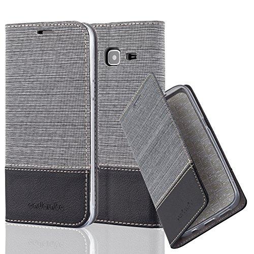 Preisvergleich Produktbild Cadorabo Hülle für Samsung Galaxy J3 2016 (6) - Hülle in GRAU SCHWARZ – Handyhülle mit Standfunktion und Kartenfach im Stoff Design - Case Cover Schutzhülle Etui Tasche Book