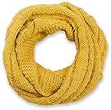 styleBREAKER Strick Loop Schal kariert, Uni Feinstrick Schlauchschal, Winter Strickschal, Unisex 01018154, Farbe:Curry