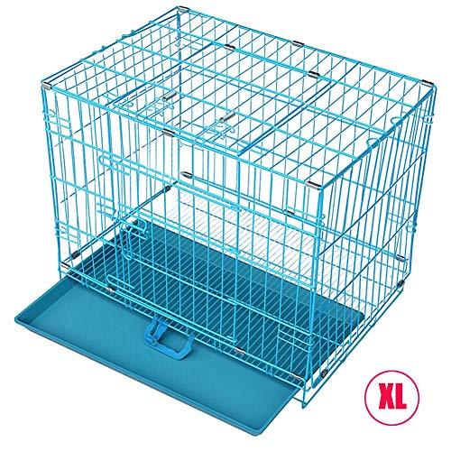 RXLCS Faltbare Hundekiste Aus Metall, Blau, Mit Dachfenster Und Kunststoffschale, 36 Zoll, Für Bis Zu 25 Kg Kleine Und Mittlere Hundehaustiere
