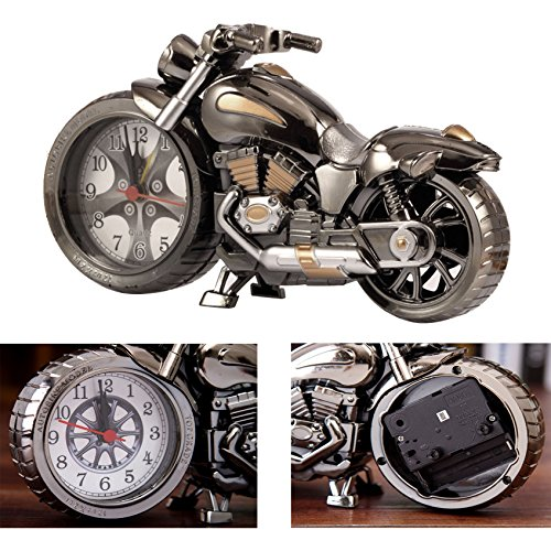 Itian Weinlese Motorrad-Wecker, Retro-Stil Tischuhr, Motorrad-Rack-Modell, für das Büro zu Hause Dekoration (Ugyen)