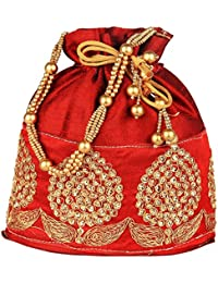 Bombay Haat Women's Ethnic Rajasthani Silk Potli Bag / Potli Purse / Bridal Clutch/ Bridal Purse -Dark Red (Bp0006)