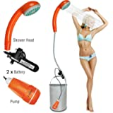 Qbuds Portable Camping Shower, Compact Shower Pump with Dual Detachable USB Rechargeable Batteries, Handheld Outdoor…