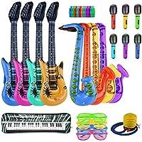 FEPITO 30PCS Inflable Set de Juguetes Rock Star Inflatables Saxofón Guitarra Micrófono Inflatable Instruments Party Props con Bomba de Globos para Prop de Decoración de Fiesta (Color Aleatorio)