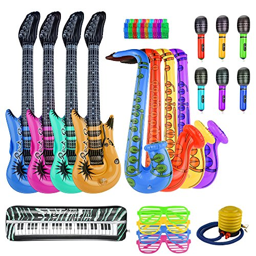 FEPITO 30PCS Inflable Set de Juguetes Rock Star Inflatables Saxofón Guitarra Micrófono Inflatable Instruments Party Props con Bomba de Globos para Prop de Decoración de Fiesta (Color Aleatorio)
