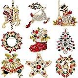 37YIMU - 9 pieza un Paquete Multicolor de Cristal de Diamantes de Imitación Broche de Navidad PIN set para Adornos Navideños Ornamentos Regalos incluyendo árbol de Navidad, Santa Claus, Muñeco de Nieve, Jingle Bells, Estrella, Guirnalda, Reno