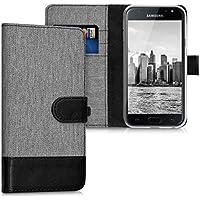 kwmobile Hülle für Samsung Galaxy J3 (2017) DUOS - Wallet Case Handy Schutzhülle Kunstleder - Handycover Klapphülle mit Kartenfach und Ständer Grau Schwarz