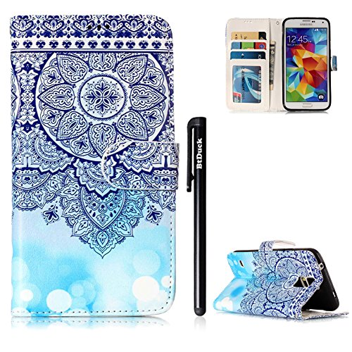 Samsung Galaxy S5 Hülle Blau,BtDuck PU Leder Ultra Slim Dünn Weich Tasche Bunt Muster Brieftasche Weich Silikon Back Cover Hülle Schutzhülle für Samsung Galaxy S5 Stand Flip Case Mandala