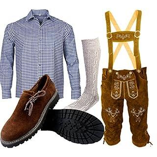 ALL THE GOOD B 2 Trachtenset (Hose +Hemd +Schuhe +Socken) Bayerische Lederhose Trachtenhose Oktoberfest Leder Hose Trachten (Hose 50 Hemd L Schuhgröße per Mail)