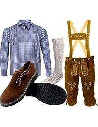 ALL THE GOOD Herren Trachten set Oktoberfest (Hose +Hemd +Schuhe +Socken) Bayerische Lederhose Trachtenhose B2