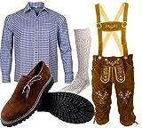 B 2 Trachtenset (Hose +Hemd +Schuhe +Socken) Bayerische Lederhose Trachtenhose Oktoberfest Leder Hose Trachten (Hose 56 Hemd XL Schuhgröße per Mail)