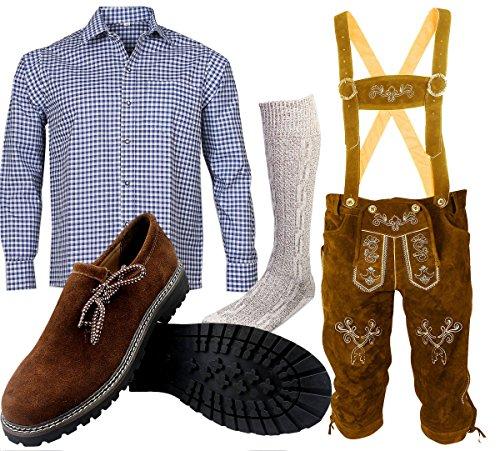 ALL THE GOOD B 2 Trachtenset (Hose +Hemd +Schuhe +Socken) Bayerische Lederhose Trachtenhose Oktoberfest Leder Hose Trachten (Hose 56 Hemd XL Schuhgröße per Mail)