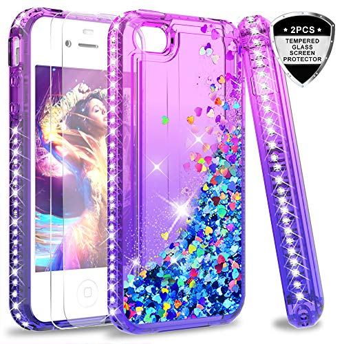 LeYi Hülle iPhone 4 / iPhone 4S Glitzer Handyhülle mit Panzerglas Schutzfolie(2 Stück), Diamond Cover Bumper Schutzhülle für Case iPhone 4 / iPhone 4S Handy Hüllen ZX Gradient Purple Blue