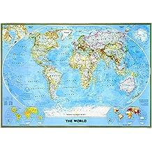 Mapa mural del mundo classic grande plastificado.140x100cm Español. National Geographic.