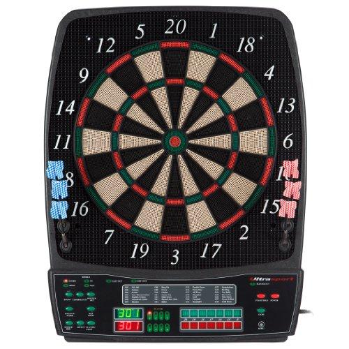*UItrasport Dartboard elektronisch, Classic Dartboard für 8 Spieler, 28 Spiele, 167 Varianten / elektronische Dartscheibe inklusive 12 Softpfeile, Dartspiel mit LED-Anzeige*