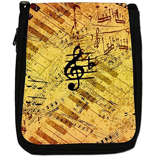 Vintage grunge Note Musicali Medium Nero Borsa In Tela, taglia M Vintage Look Music Notes