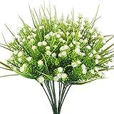 Amkun, Kunstblumen, 4Stk., Schleierkraut/Gypsophila, Strauß, Grün, Sträucher, Hochzeit, Tischdeko, Blumen-Arrangement, Bouquet-Füller weiß