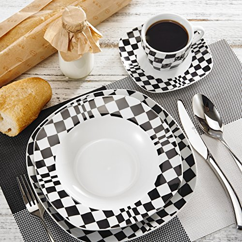 VEWEET 'LOUISE' 30-Piece Porcelain Dinner Set China Ceramic Cream White Mosaic Dinner Combi-Set with Dessert Plate Soup Plate Dinner Plate Cup Saucer Service for 6