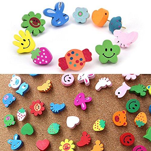 Welecom 50pcs de madera Cartoon Animal patrón Push Pins Pulgar Tachuelas chinchetas de cabeza de madera para la escuela oficina en casa