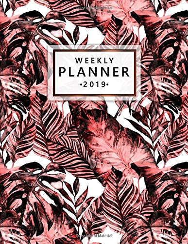 Weekly Planner 2019: Cute Tropical Leaves Weekly and Monthly 2019 Organizer. Stylish Yearly Agenda, Journal and Notebook (January 2019 - December 2019). por Nifty Planners