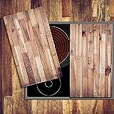 decorwelt | Ceranfeldabdeckung 2x30x52 cm Herdabdeckplatten 2 Teilig Elektroherd Induktion Herdschutz Deko Glasplatte Schneidebrett Sicherheitsglas Spritzschutz Glas Holz