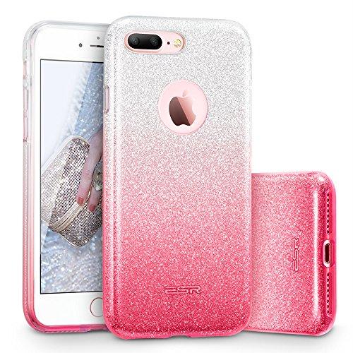 Coque iPhone 7 Plus Noir, ESR iPhone 7 Plus Coque Paillette Strass Brillante Bling Bling Glitter de Luxe, Housse Etui de Protection Silicone [Ultra Fine] [Anti Choc] pour Apple iPhone 7 Plus 5,5 pouce Rose Dégradé
