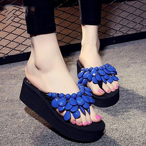 Pente avec sandales à talons hauts à bascule --- Pantoufles en perles faites à la main Chaussons épais Chaussures de plage Chaussons de sandales avec 8 couleurs --- Herringbone fashion sweet Sandals #2