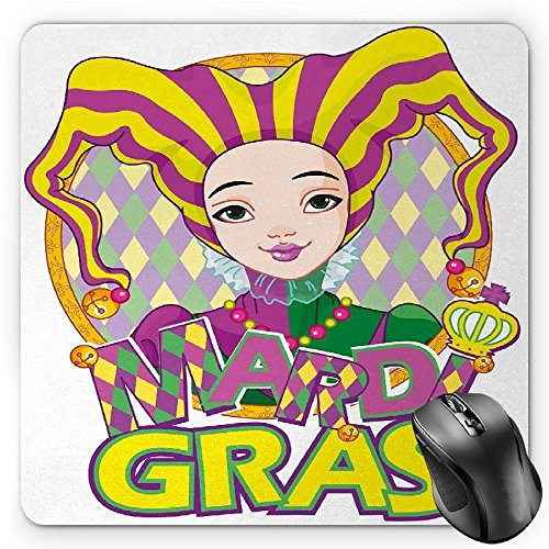 HYYCLS Mardi Gras Mauspads, Carnival Girl in Harlequin Costume and Hat Cartoon Fat Tuesday Theme, Standard Size Rectangle Non-Slip Rubber Mousepad, Yellow Purple Green
