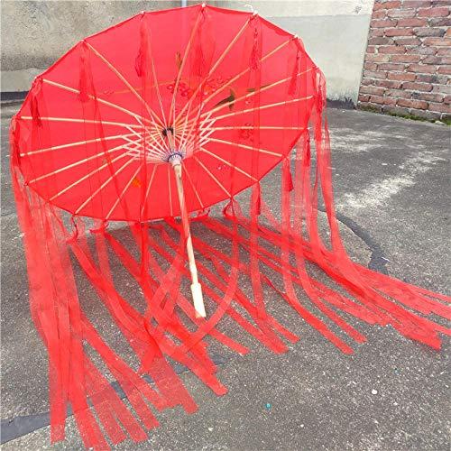Brautaccessoires Fransen mit Garn Kostüme weibliche Blume Regenschirm cos roten Regenschirm Anime Regenschirm Alten chinesischen Kleidung Ölpapier Regenschirm Foto Requisiten Regenschirm @B (Chinesische Anime Kostüm)