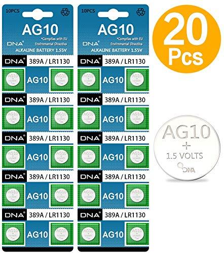 DNA AG10 Alkaline-Batterien, 1,5 V, ersetzt SR1130, SR54, SR1131, 389, 390, 20 Stück