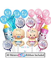 AMFIN® (Pack of 34) Baby Shower Combo / Baby Shower Decoration / Welcome Baby Decoration Material / Baby Shower Foil Balloons boy or Girl we Love You Baby Shower - Multi