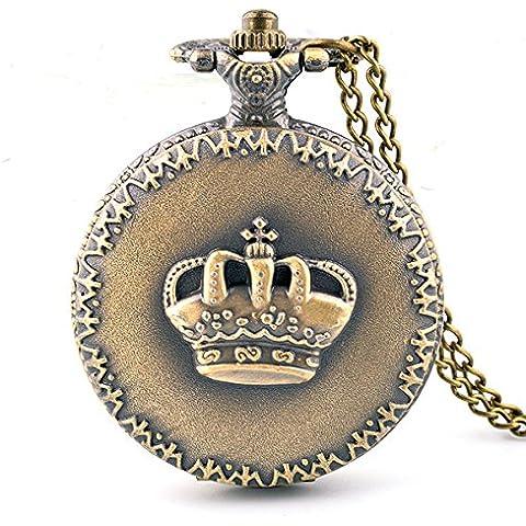 XM Stile classico Vintage unisex Creative personalit¨¤ Palace Premium acciaio Corona in rilievo Pattern multifunzionale maglione catena quarzo orologio da tasca in bronzo
