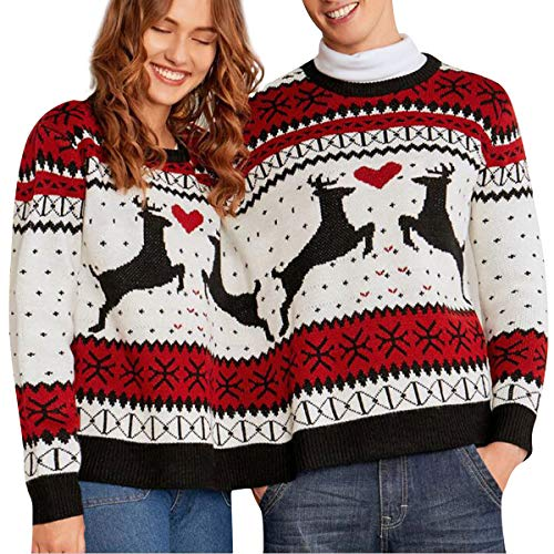 Für Kostüm Freunde Zwei Personen - FRWJN Rundhalsausschnitt Langarm Zwei-Personen-Strickpullover Weihnachten Pullover Strickwaren