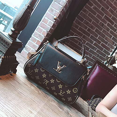 LFGCL Bags womenPrint Bag Fashion Old Flower Schultertasche Umhängetasche, schwarz